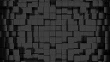 3D Rendering Of A Pattern Of Black Cubes For Backgrounds And Textures