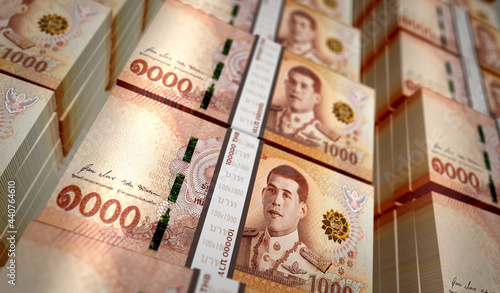 Fotografija Thai Baht money banknotes pack illustration