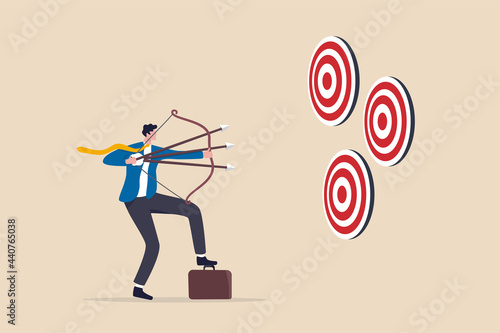 Valokuva Multitasking or multiple purpose strategy, aiming for many targets or goal, skillful professional to achieve success in work and career concept, businessman aiming multiple bows on three targets