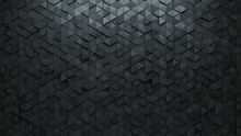 3D Tiles Arranged To Create A Concrete Wall. Triangular, Semigloss Background Formed From Futuristic Blocks. 3D Render