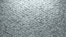 Triangular Tiles Arranged To Create A Concrete Wall. Futuristic, 3D Background Formed From Semigloss Blocks. 3D Render