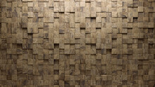 Semigloss Tiles Arranged To Create A Square Wall. Natural Stone, Textured Background Formed From 3D Blocks. 3D Render