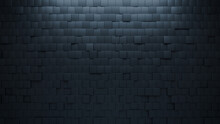 Black Tiles Arranged To Create A Semigloss Wall. Square, Futuristic Background Formed From 3D Blocks. 3D Render