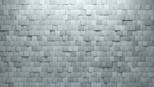 Square Tiles Arranged To Create A Semigloss Wall. 3D, Concrete Background Formed From Futuristic Blocks. 3D Render