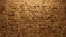 Soft Sheen Tiles Arranged To Create A Wood Wall. Natural, Square Background Formed From 3D Blocks. 3D Render