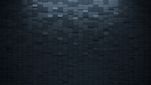 3D Tiles Arranged To Create A Black Wall. Rectangular, Futuristic Background Formed From Semigloss Blocks. 3D Render