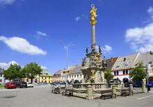 Letohrad - Wenceslas's Square With Dominating Baroque Marian Column. Town Letohrad (until 1950 Called Kysperk; German: Geiersberg), Usti Nad Orlici District, Pardubice Region Of The Czech Republic.