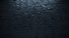 Rectangular Tiles Arranged To Create A Semigloss Wall. Black, Futuristic Background Formed From 3D Blocks. 3D Render