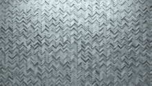 Concrete Tiles Arranged To Create A Herringbone Wall. Futuristic, Semigloss Background Formed From 3D Blocks. 3D Render