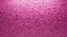 Semigloss Tiles Arranged To Create A 3D Wall. Herringbone, Futuristic Background Formed From Pink Blocks. 3D Render