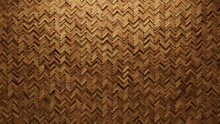 Herringbone Tiles Arranged To Create A Natural Wall. Wood, Soft Sheen Background Formed From 3D Blocks. 3D Render