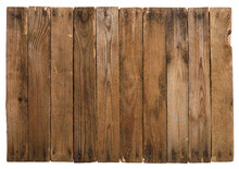Vintage Wooden Background From Planks With Rusty Nails Isolated On White.