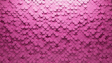 3D Tiles Arranged To Create A Futuristic Wall. Pink, Fish Scale Background Formed From Semigloss Blocks. 3D Render