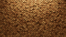 Soft Sheen Tiles Arranged To Create A Natural Wall. 3D, Wood Background Formed From Fish Scale Blocks. 3D Render