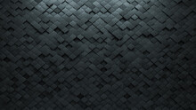 Arabesque Tiles Arranged To Create A Futuristic Wall. Semigloss, 3D Background Formed From Concrete Blocks. 3D Render