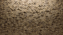 Natural Stone Tiles Arranged To Create A Arabesque Wall. 3D, Semigloss Background Formed From Textured Blocks. 3D Render