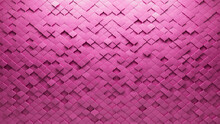 Pink Tiles Arranged To Create A Semigloss Wall. Arabesque, Futuristic Background Formed From 3D Blocks. 3D Render