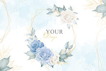 Editable Watercolor Floral Background With Arrangement Floral And Hand Drawn Floral Geometric Frame
