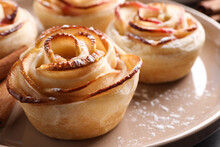 Freshly Baked Apple Roses On Plate, Closeup. Beautiful Dessert