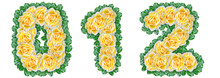 Numbers 0, 1, 2 Made Of Yellow Roses With Green Leaves On A White Background