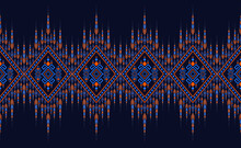 Embroidery Designs Oriental Geometric Ethnic Pattern For Background Or Carpet, Wallpaper, Batik Wrapping, Curtain Design, Vector Illustration