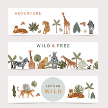 Safari Collection With Giraffe And Zebra Are Standing.tiger And Leopard Are Sitting On White Background