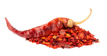 Dried Red Chili Flakes With Seeds, Isolated On White Background. Chopped Chilli Cayenne Pepper. Spices And Herbs.