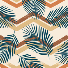 Tropical Pattern, Palm Leaves Seamless Vector Floral Background. Exotic Plant On Blue Chevron Stripes Print. Summer Nature Watercolor Zigzag Lines Jungle Print