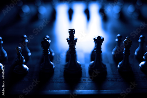 Slika na platnu Pieces on chess board for playing game and strategy