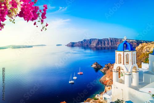 Valokuvatapetti white belfries Santorini island, Greece