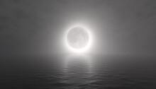 Rendered 3D Hazy Moon Eclipse Over Ocean Background