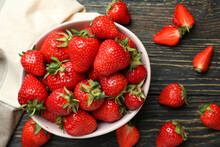 Concept Of Tasty Eating With Fresh Strawberry On Wooden Table