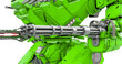 Leinwandbild Motiv close up on the machinegun of the heavy mech in white background