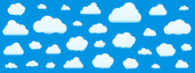 Set Of Clouds Isolated On Sky Background. Seamless Pattern. Collection Of Clouds For Web, Poster, Placard, Wallpaper. Creative Modern Concept. Vector Illustration.