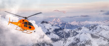 Yellow Helicopter Flying Over The Rocky Mountains During A Sunny Sunset. Aerial Landscape From British Columbia, Canada Near Vancouver. Adventure Composite. Art Render