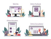 Lawyer Online Service Or Platform Set. Law Advisor, Advocate Defending