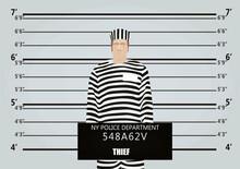 Thief Man Mugshot. Vector Illustration