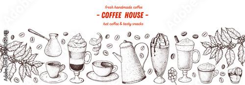 Fotografija Coffee drink hand drawn collection
