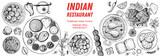 Indian food illustration. Hand drawn sketch. Indian cuisine. Vector illustration. Menu background. Engraved style.