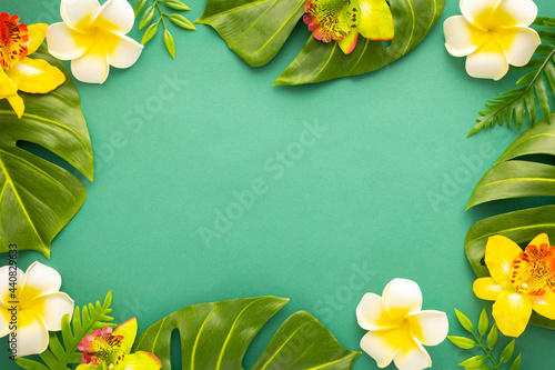 Summer background with tropical orchid flowers and green tropical palm leaves on green background Fototapeta