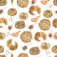 Seamless Pattern With Different Bakery Products, Pumpkins, Berries And Seeds. Made In The Technique Of Colored Pencils. Hand Drawn.
