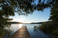 Scenic Lakeside With Jetty And Marvellous Bathing Area In Summer.