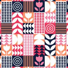 Scandinavian Pattern Design. Simple Modern Retro Background. Minimalist Abstract Scandinavian Wallpaper. Bauhaus Geometric Texture. Folk Nordic Ornament. Fashion Trendy Textile. Vector Illustration.
