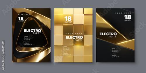 Fotografie, Obraz Electronic music festival ads poster set