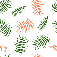 Seamless Pattern Of Tropical, Exotic Leaves, Plants, Palm Trees, Ferns. Bright Summer Print For Fabrics, Textiles And Design. Vector Graphics.