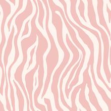 Tiger Monochrome Seamless Pattern. Vector Animal Skin Print. Fashion Stylish Organic Texture.