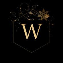 Luxury Boutique Letter W Monogram Logo, Vintage Golden Letter With Elegant Floral Design