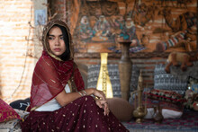 Asian Woman Attractive Model Dressed In Posh, Gildet, Indian Costume