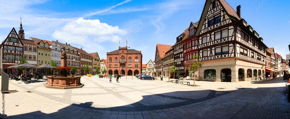 Panoramic view of the market square in Tauberbischofsheim, Germany
