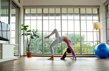 Asian Woman Post Yoga Backbending Yoga For Practicing